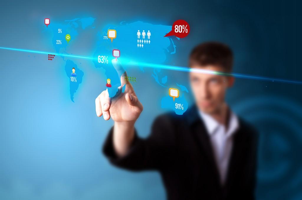 Businessman pressing social media button on digital map content marketing